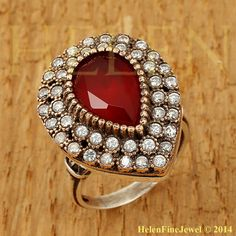 Hurrem Sultan Ring Tear Drop Shape Ruby Color Look Ottoman Jewelry 925 Sterling Arabic Jewelry, Turkish Jewelry, Handmade Silver, Handmade Jewelry, Jewelry Sets, Jewelry Rings, Jewlery, Silver Christmas, Christmas Gifts For Women