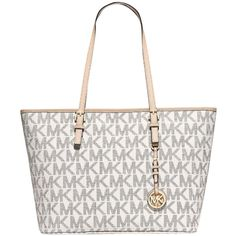 Pre-owned Michael Michael Kors Jet Set Travel Vanilla Tote Bag ($119) ❤ liked on Polyvore featuring bags, handbags, tote bags, vanilla, tote handbags, travel tote, handbags totes, white tote purse and travel handbags