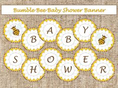 Brown Bumble Bee Baby Shower Banner-INSTANT DOWNLOAD by AllbyWanda
