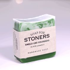Soap for Stoners - BEST SELLER! | ''It's 4:20 somewhere....  Of course it's always 4:20 in Colorado. But for the rest of us, it's still shockingly illegal to reek of a little ganja now and again. Why not put one over on your uniformed pals down at the station with a good lathering up of Soap for Stoners? In dank shades of green and lightly scented with cannabis, you'll take a trip down memory lane to uh, wait. We can't remember what we were talking about.''