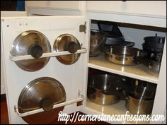 If you need to keep the lids to your pots and pans organized and you have little cabinet space available, you can just attach a curtain rod to the inside of your cabinet door. In fact, you can do two or three rods depending on the side of your cabinet. Pan lids will fit in and be held in place by their handles. Via: Cornerstoneconfessions – Cheap Pots and Pans Organization