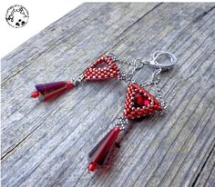 #DotArt, #earrings, #beading, #peyote, #triangle, polandhandmade.pl