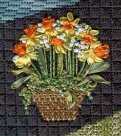 Embroidery Silk Ribbon Kelly Clark Needlepoint Handbook, basket with daffodils using silk ribbon Silk Ribbon Embroidery, Crewel Embroidery, Machine Embroidery, Needlepoint Stitches, Needlework, Ribbon Work, Stitch Design, Knitting Projects, Printing On Fabric