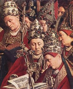 ❤ - JAN VAN EYCK (1395-1441) - The Ghent Altarpiece - Adoration of the Lamb, detail - 1432. Sint-Baafskathedraal (Cathedral of St Bavo), Gent, Belgium.