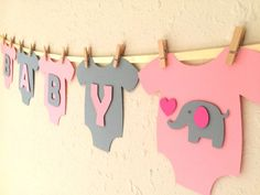 "Baby One-Piece Bodysuit ""BABY GIRL"" Elephant Baby Shower Banner: Pink and Gray…"