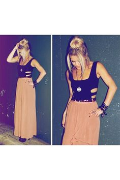 Cut outs and maxi skirt.