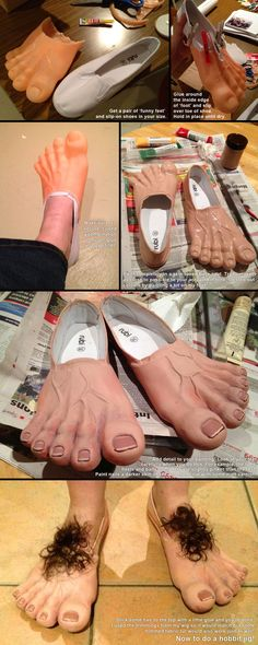DIY Hobbit Feet for cosplay or halloween costume Costume Carnaval, Hallowen Costume, Costume Halloween, Diy Costumes, Halloween Party, Costume Ideas, Family Costumes, Funny Halloween, Zombie Costumes