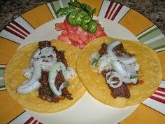 Tacos de Pollo con Chicharrones en Chocolate Chile Colorado ; Hispanic ; chicken ; pork cracklings