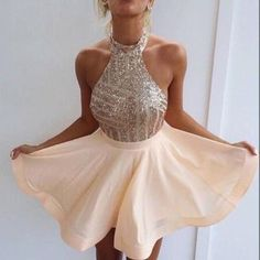 A238 high neck halter champagne homecoming dresses min short prom dress