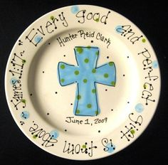 Baptism Plate - Hand Painted Baby Plate with Cross - Great Baptism Gift. $24.50, via Etsy.