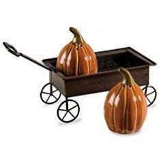 Creative Co-Op Pumpkin Wagon Halloween 3-piece Salt & Pepper Shaker Set