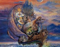 Lovers by Josephine Wall - shell, lion, ocean, painting, abstract, day, flower, boat, valentine, godess, orange, josephine wall, violin, sea, blue, sky, music, water, heart, lovers, spring, clouds, ship, art