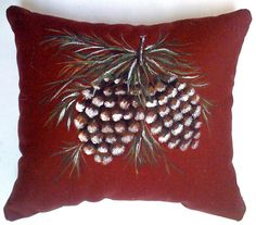 Snowy Pinecones Hand Painted Pillow by JeanWilkesStudio on Etsy, $40.00