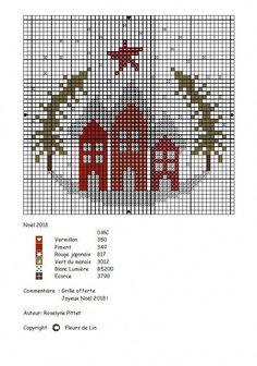 Counted Cross Stitch Patterns, Cross Stitch Charts, Cross Stitch Designs, Cross Stitch Embroidery, Cross Stitch Christmas Ornaments, Christmas Cross, Christmas Houses, Xmas, Christmas Embroidery Patterns