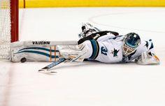 San Jose Sharks goaltender Antti Niemi makes a second period sprawling save (Jan. San Jose Sharks, Shark Photos, Arizona Coyotes, January 13, Espn, Nhl, Hockey, Dallas, Period
