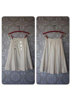 Vintage 1950's Cream Pleated Wool Skirt  by pursuingandie, $56.00