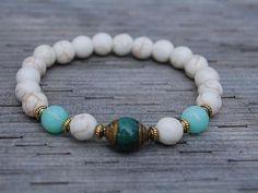 White Gemstone BraceletTibetan Brass Caps Jade BeadNepal