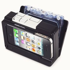 Cassette To iPod Converter. This is the device that converts audio tape cassettes into files and stores them directly onto an iPhone or iPod touch. It accepts most iPhones and iPod touches, and normal or chrome cassette tapes.