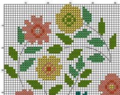 Flower heart cross stitch pattern pdf pillow embroidered
