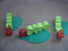 "The kids made these caterpillars to take home after we read Eric Carle's ""The Very Hungry Caterpillar."""