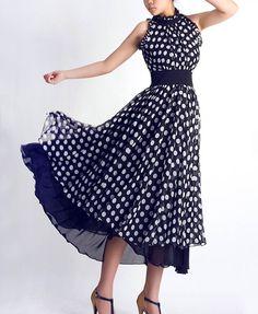 Blue+dotted+chiffon+maxi+dress+0054+by+xiaolizi+on+Etsy,+$84.99