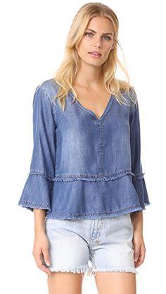 BELLA DAHL Frayed Bell Sleeve Top. #belladahl #cloth #dress #top #shirt #sweater #skirt #beachwear #activewear