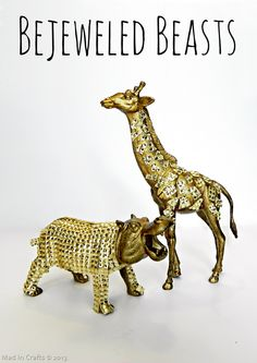 Bejeweled Beasts (Gem Covered Dollar Store Toys) - Mad in Crafts