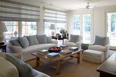 Love the horizontal window treatments adding a comfortable casual feel to the room...  via Katrin Cargill Interior Design