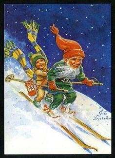 Julkort av Curt Nyström. Tomten åker skidor. | Julkort av Curt ...