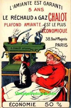 Advert Stove Cat French.  Advertising for Stove Chalot. Grill, cooking, France.