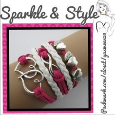 Double heart bracelet Beautiful dark pink and white leather cord bracelet. Double heart, infinity and chunk hear charms. Adjustable. Jewelry Bracelets