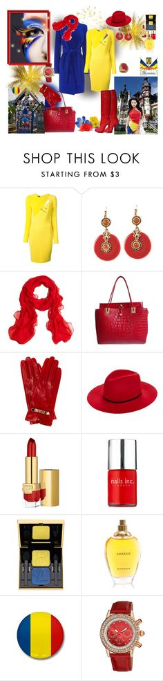 """happy birthday,Romania!"" by lumi-21 ❤ liked on Polyvore featuring Versace, Sabine, Brooks Brothers, Lipsy, Moschino Cheap & Chic, Janessa Leone, Estée Lauder, Nails Inc., Yves Saint Laurent and Givenchy"