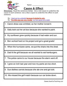 Cause and Effect Worksheet: Read the sentences below. Use a red crayon to underline the cause in each sentence. Use a blue crayon to underline the effect in each sentence. Information: Cause and Effect Worksheet. 2nd Grade Worksheets, Grammar Worksheets, Printable Worksheets, Suffixes Worksheets, Blends Worksheets, Grammar Lessons, Prefixes, Preschool Worksheets, Cause And Effect Worksheets