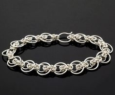 Intermediate Staggered Byzantine Bracelet Kit or Ready Made - Unique Chainmaille Style in Non Tarnish Argentium Sterling Silver by UnkamenSupplies on Etsy https://www.etsy.com/listing/209380980/intermediate-staggered-byzantine