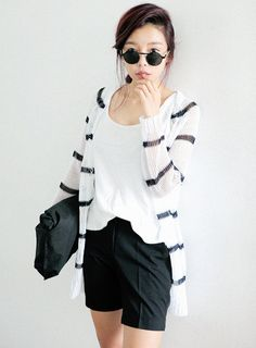 [STYLENANDA] STRIPED SEE-THROUGH KNIT CARDIGAN