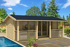 Moderne Ferienhausoptik, aber eine kleine Grundfläche von 15,3m² - perfekt für den Urlaub im Garten.