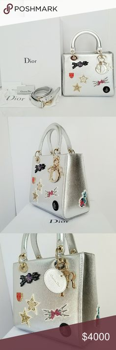 Lady Dior Cruise 2017 NWT This was first launchedin June 2017 (Dior Cruise 2017 Collection). Deco in embroidered address tags, pearls, rhinestones and sequins. Material: Grained Leather Embroided with Badges  Hardware: gold  Interior: blue leather with one inside pocket. Condition: new. dot-sized scratch on handle where the red circle is. Hairline scratch on charm due to store display. plastic wrap are intact (just taken out for pics). Sale includes: bag, shoulder strap, card, booklet. Dior…
