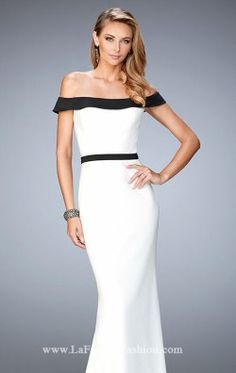 Off-The-Shoulder Jersey Gown by La Femme 22138