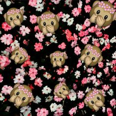 Imagem de monkey, emoji, and flowers