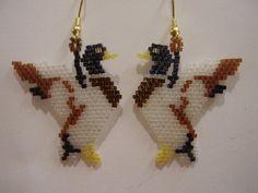 Native American Design Beaded Duck Wild Life Earrings via Etsy