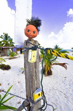 Testa di un manichino spiaggia messico