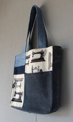 Vintage Style Sewing Machine Fabric and Denim Patch with Front Pocket Tote with Coordinating Soft Cotton Lining by AllintheJeans on Etsy