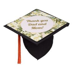 White Floral Thank You Dad Mom Graduation Graduation Cap Topper good mothers day gifts, fathers day gifts from kids diy daughters, hunting fathers day gifts Father Presents, Gifts For Father, Happy Fathers Day, Dyi Mothers Day Gifts, Easy Fathers Day Craft, Thank You Gift For Parents, Graduation Cap Toppers, College Graduation Gifts, Dad Day