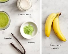 This lightly sweet matcha smoothie is made with banana, vanilla, and almond milk. It's a healthy, antioxidant-filled breakfast! Vanilla Smoothie, Matcha Smoothie, Tea Smoothies, Smoothie Drinks, Healthy Smoothies, Healthy Drinks, Green Tea Recipes, Raw Food Recipes, Healthy Recipes