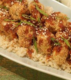 DAPHNE OZ General Tso's Cauliflower - do half with chicken. Also, add sesame oil