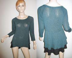 NWT EVERLEIGH Rayon Blend Draped Knit High Low Layered Hem Green Tunic Top M #Everleigh #Tunic #Casual