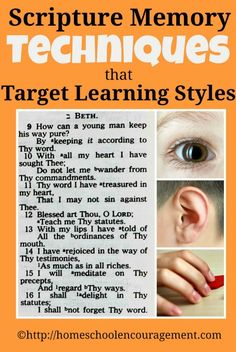 Scripture Memory Techniques that Target Your Child's Learning Style from #HomeschoolEncouragement