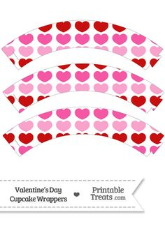 Red and Pink Hearts Cupcake Wrappers from PrintableTreats.com