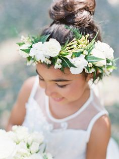 Ivory and greenery flower crown: http://www.stylemepretty.com/georgia-weddings/savannah/2016/09/12/a-traditional-southern-cathedral-wedding-bathed-in-blue/ Photography: The Happy Bloom - http://www.thehappybloom.com/