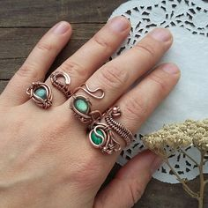 Here is a new line of copper jewelry in my shop. ADJUSTSBLE RINGS. With lsbradorites or malachite. The gems are natural and stunning!